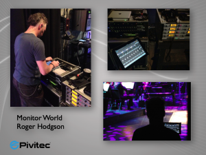 Top Left: Wim Daams dials in a mix during a rehearsal Top Right: The Pivtec Rack (left) sits next to the Sennheiser Wireless Rack (right)