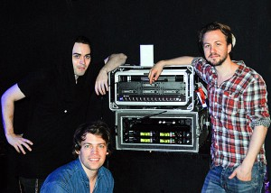 The band with their Pivitec and IEM racks. L-R Henrik Linder, bass; Jonah Nilsson, vocals and keys; Aaron Mellergardh, drums.
