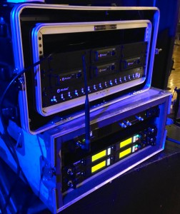 Pivitec rack sits atop the wireless IEM rack: 4 x e32 mixers drive 4 x Shure PSM 1000 transmitters.