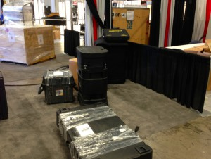 Here's a look at the booth just after load-in. Lots of work ahead in the Las Vegas Convention Center. They don't run the AC on set-up days!