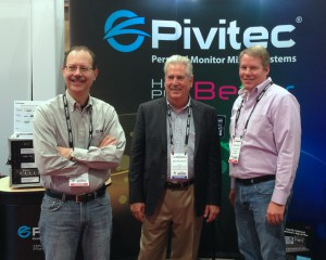 L-R: Tom Knesel, Bob Snelgrove of Gerr Audio, John Garbutt / Pivitec Sales Manager US & Canada.
